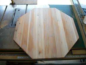 View of center-piece sanded and cut to an octagon shape