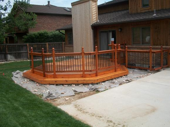 Octagon deck after staining, view 1.