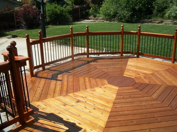 Octagon deck after staining, view 2.