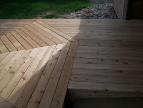 View of cut line at ends of bridge decking