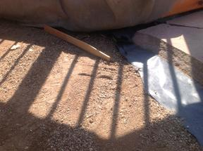 Leveling crusher fine base for flagstone patio.