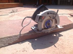 Setting the circular saw cut depth.