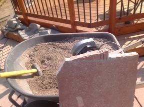 Cutting out a notch from flagstone.