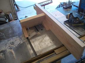 First view of table saw jig for post notch cut.