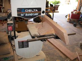 First view of band saw jig for post notch cut.