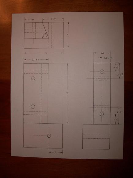 Orthographic drawing of half of a deck post.