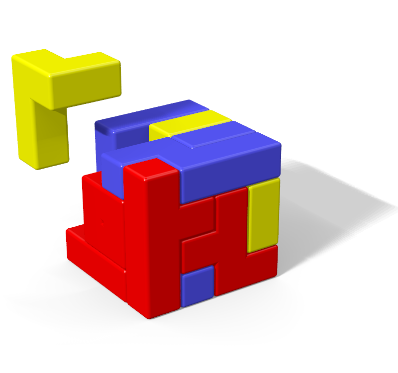 Povray image of a solution to the Tetris Cube.
